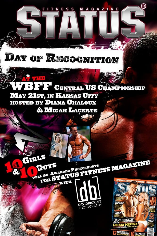 """Status Fitness Magazine, """"Day of Recognition"""" promo poster. Design and Photography by David Bickley Photography"""