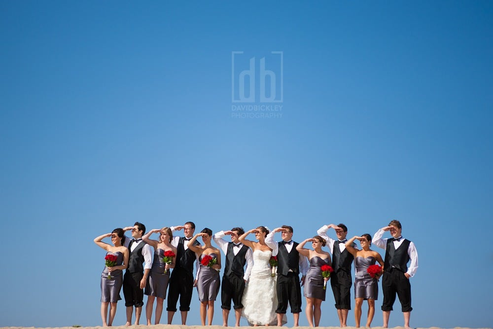 Bridal group on the beach by David Bickley Photography