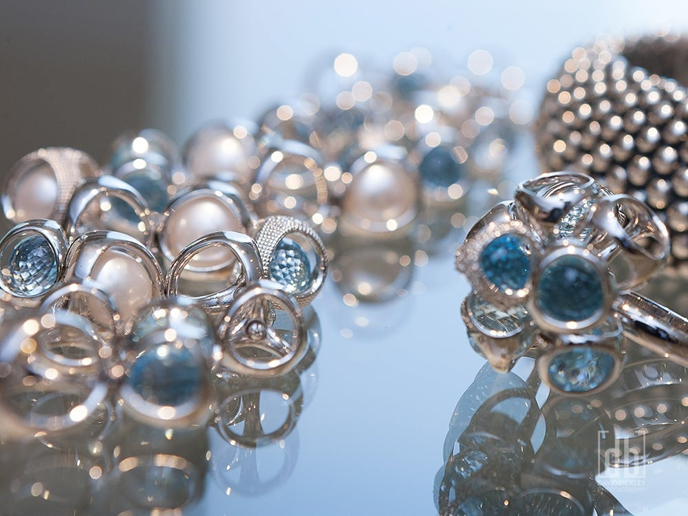Tivol pearls and sapphires, by David Bickley Photography